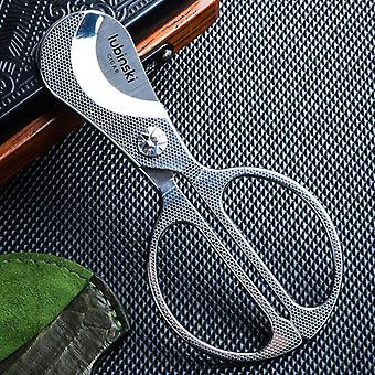 Cigar Scissors Honeycomb Pattern Stainless Steel Blade With Snake Leather  Accessories