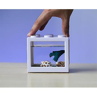 Office Small Desktop Ornamental Plastic Fish Tank (white Tank)