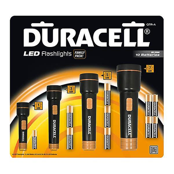 4x Duracell LED Flashlights Family Pack Torch Set Emergency Light Battery Operated