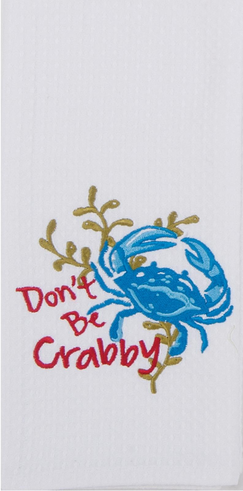 Dont Be Crabby Blue Crab Embroidered Waffle Kitchen Dish Towel