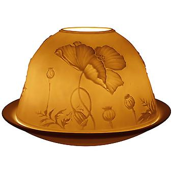 Light-Glow Poppies Lithophane Dome Tealight Candle Holder