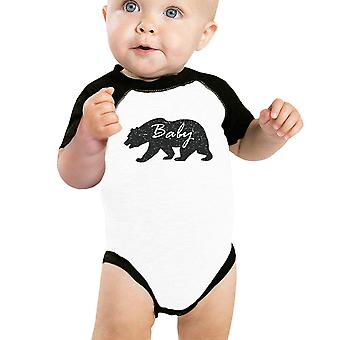 Baby Bear niedliche Baby Baseball Bodysuit schwarze Ärmel Baumwolle Baby Raglan