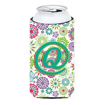 Letter Q Flowers Pink Teal Green Initial Tall Boy Beverage Insulator Hugger