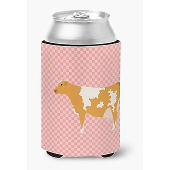 Carolines Treasures  BB7821CC Guernsey Cow Pink Check Can or Bottle Hugger