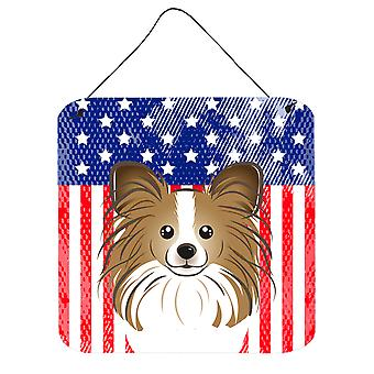 Amerykańską flagę i Papillon ściany lub drzwi wiszące drukuje