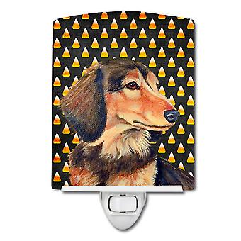 Dachshund Candy Corn Halloween Portrait Ceramic Night Light