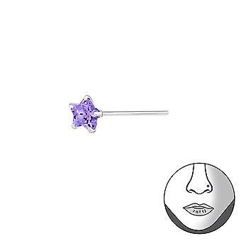 Plata 3mm nariz estrellas espárragos - espárragos de nariz de plata esterlina 925 - W31492X