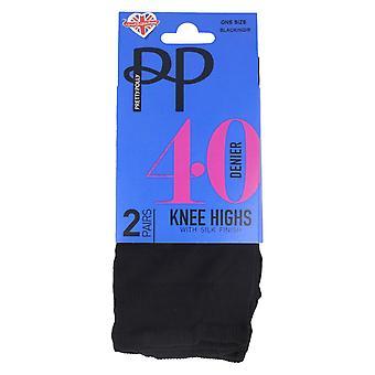 Damen Pretty Polly 40 Denier Knie Höhen PNERQ6 - Nylon-schwarz - One Size