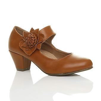 Ajvani womens low block kitten heel mary jane style flower leather lined work court shoes pumps