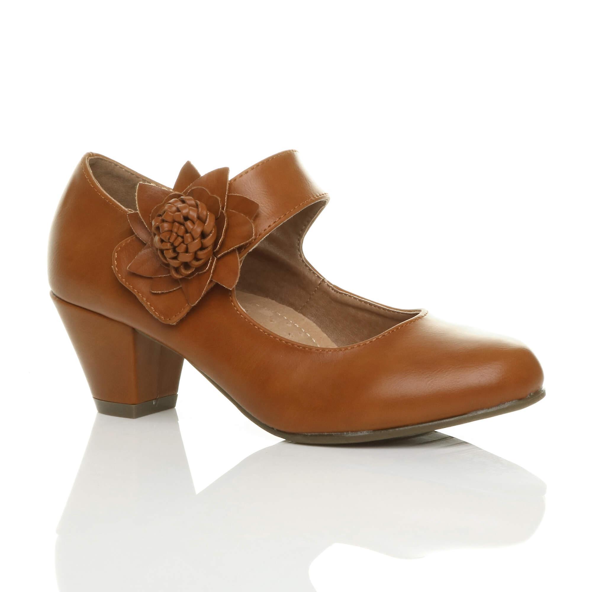 Ajvani damskie niski blok kitten pięty mary jane stylu kwiat skórzana podszewka pracy sądu buty pompy iX6lP