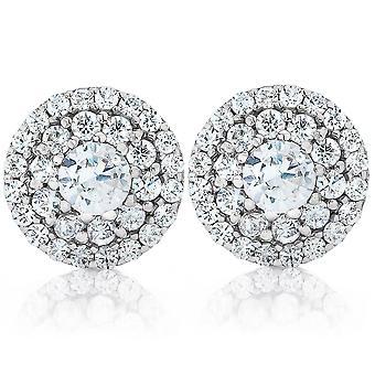 Doppel Halo Diamant Schraube zurück Ohrstecker 1/2 Karat TW 14K Weißgold