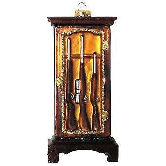 Christmas By Krebs Hunt Club Hunter Shotguns Rifle Gun Cabinet Glass Ornament