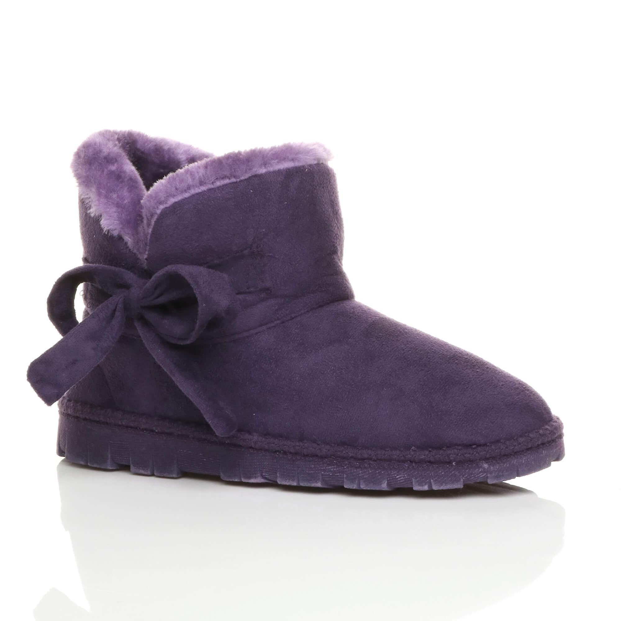 Ajvani womens flat bow pull on cosy faux sheepskin fur lined ankle boots booties slippers TGdOn