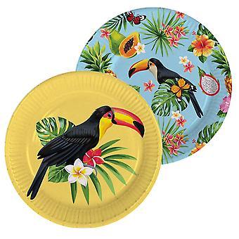 Prato de festa de Verão do tucano 23cm Dekoteller 8 decoração de festa tropical de peça Tucano