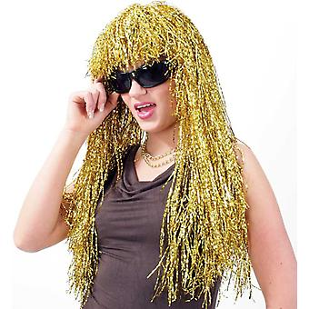 Tinsel parykk gull langhåret med smell