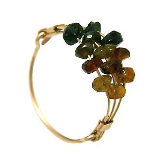 Gemshine damski pierścień pozłacany Tourmaline Zielona pomarańcza