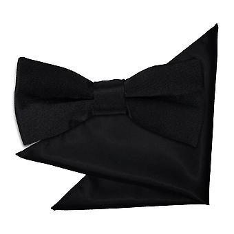 Nero liscio Satin Bow Tie & fazzoletto da taschino impostati per i ragazzi