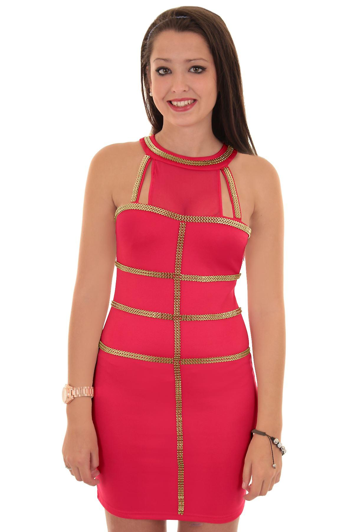 Ladies Sleeveless Mesh Insert Gold Panel Contrast Women's Short Bodycon Dress