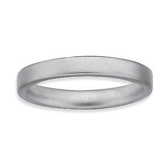 925 Sterling Hopea Rhodium päällystetty pinottava ilmaisuja Rhodium Satiini Ring Korut Lahjat Naisille - Rengas Koko: 5-10