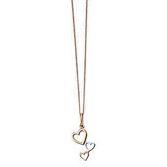 Éléments, Cascade coeur en argent pendentif - Rose Gold/Silver