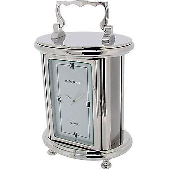 Cadeau tijd producten zware ovale vervoer bureauklok - zilver