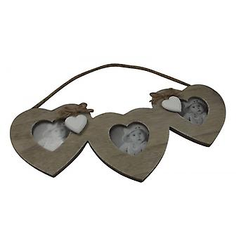 Shabby Chic Hanging Hearts Triple Photo Frame