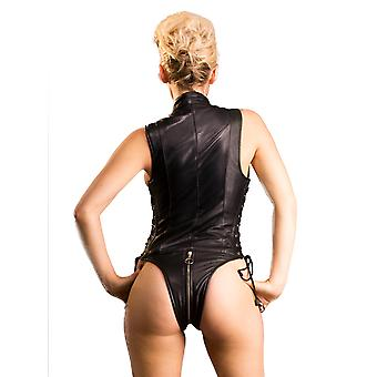 Honour Women's Sexy Bodysuit in Black Leather Side Lace & Front Zip Torturess