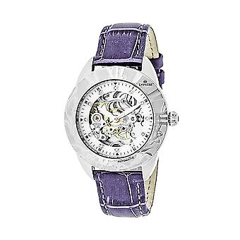 Empress Godiva Automatic MOP Leather-Band Watch - Silver/White
