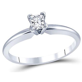 14K White Gold Princess Cut 1/3 Carat (ctw Color J-K Clarity I2-I3) Diamond Solitaire Engagement Ring