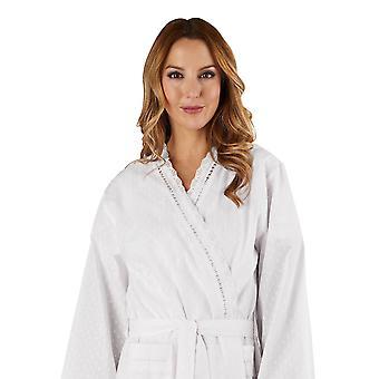 Slenderella HC3234L Women's Cotton Woven White Dressing Gown Loungewear Bath Robe Kimono