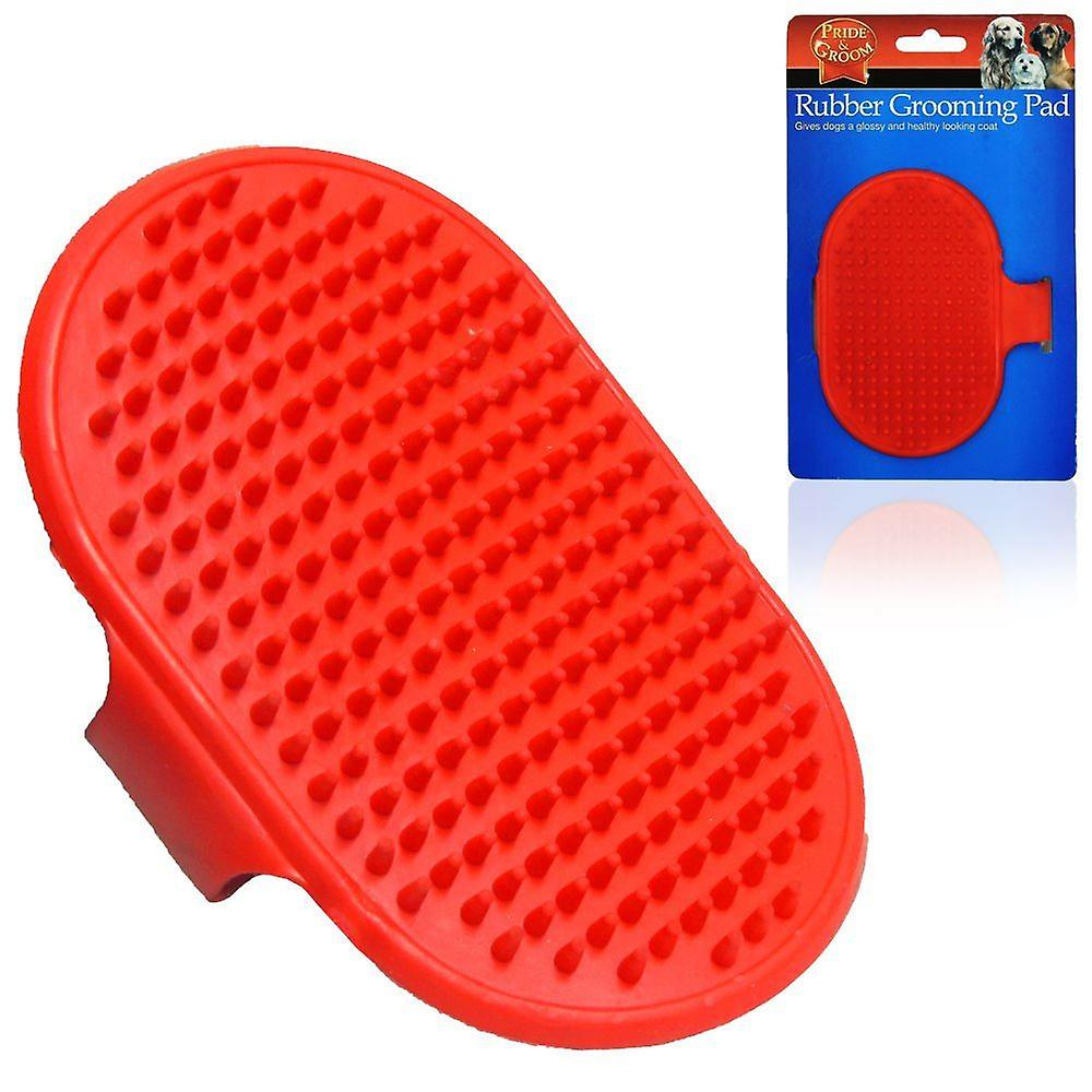 Cat Dog Pet Soft Rubber Grooming Brush Pad With Strap Glossy Coat Comb Massage
