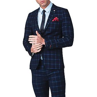 Avail London Mens Navy Suit Jacket Skinny Fit Notch Lapel Windowpane Check