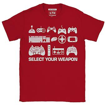 Select your weapon funny gaming t shirt classic controllers retro