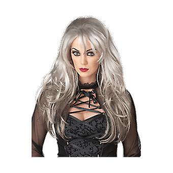 Womens Fallen Angel Long Grey Wig Halloween Ghost Fancy Dress Costume Accessory