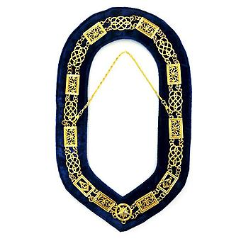 Grand Lodge-Chain Collar-Gold/Silver on Blue + Free Case