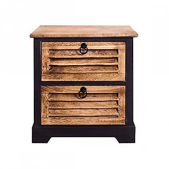 Meubles Rebecca Comodino 2 Boîtes Natural Brown Wood Vintage 45x40x27