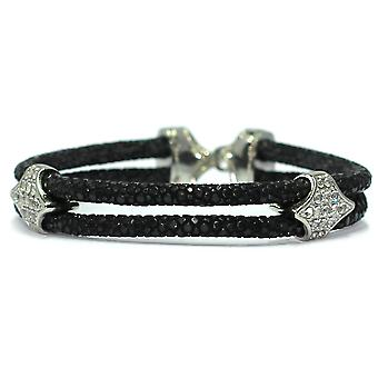 Lavriche Stingray Leather Bracelet 925 Silver Plated and CZ High Quality