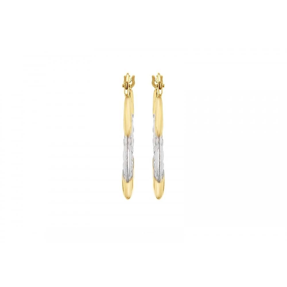 Eternity 9ct 2 Colour Oval Diamond Cut Creole Hoop Earrings