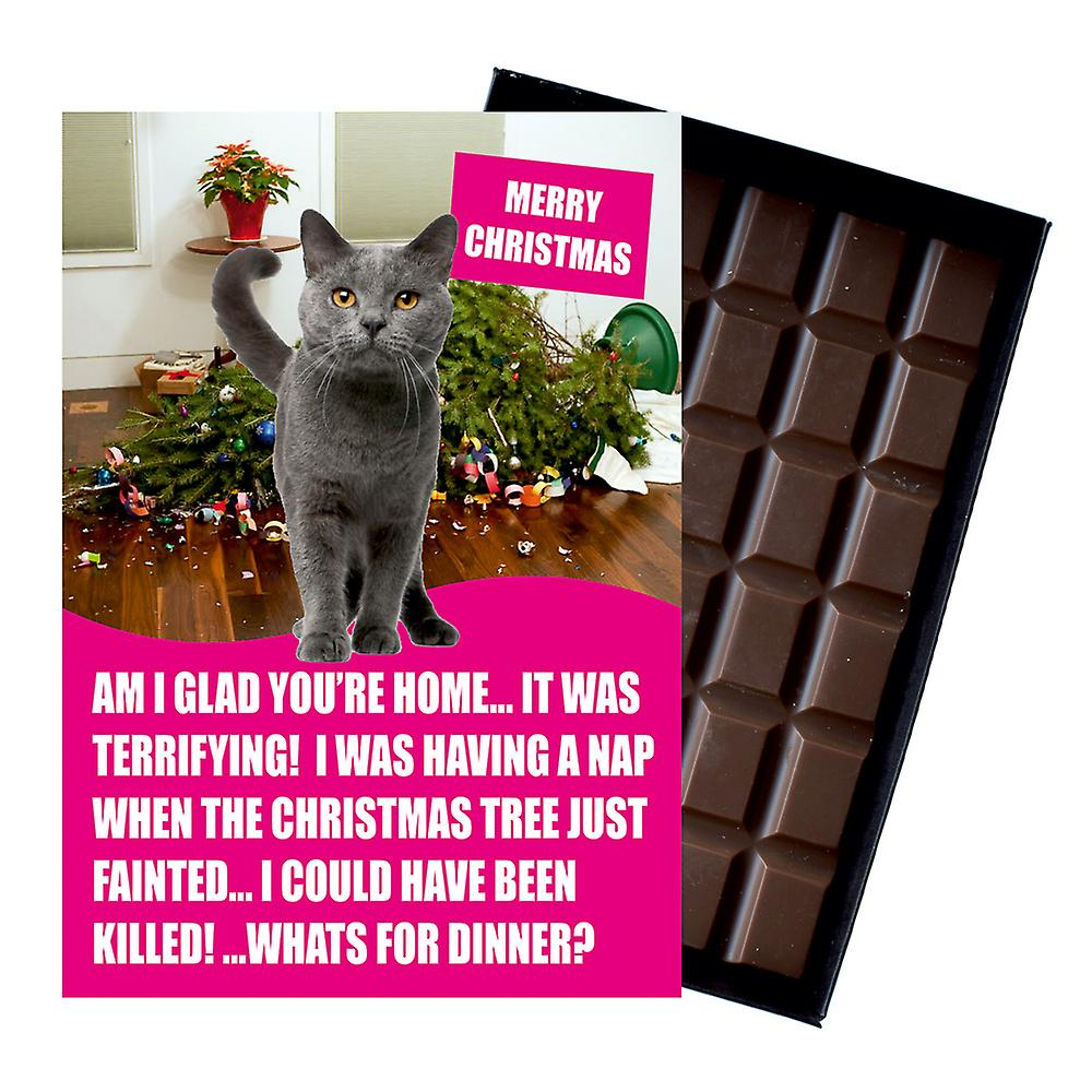 Grey Russian Blue Cat Christmas Gifts Xmas Presents for Cat Lovers Chocolate Greeting Card