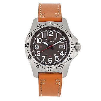 Elevon Aviator Leather-Band Watch w/Date - Camel/Brown