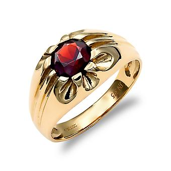 Jewelco London Men's Solid 9ct Yellow Gold Round Brilliant Garnet 10 Claw Solitaire Gypsy Ring