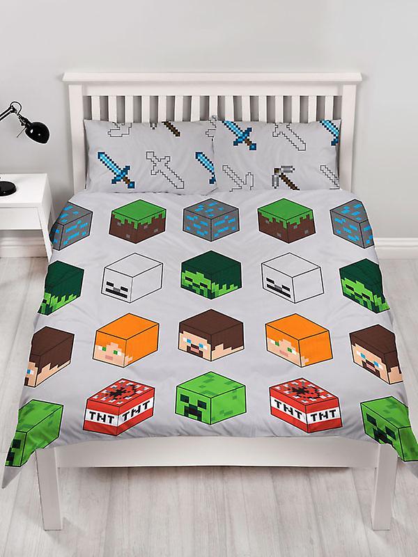 Minecraft Pixels Double Duvet Cover and Pillowcase Set