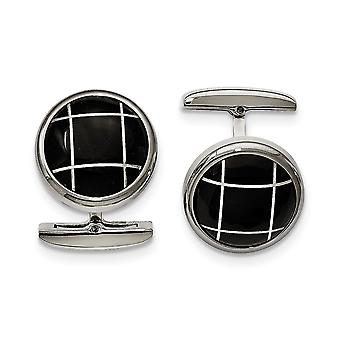 Stainless Steel Polished Black Semi precious Stone Round Cuff Links Jewelry Gifts for Men