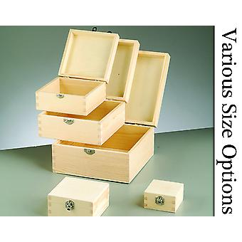 Square Lidded Wooden Boxes with Clasps to Decorate for Crafts
