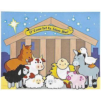 12 Kerst Geboorte Sticker Scene Ambachten voor kinderen