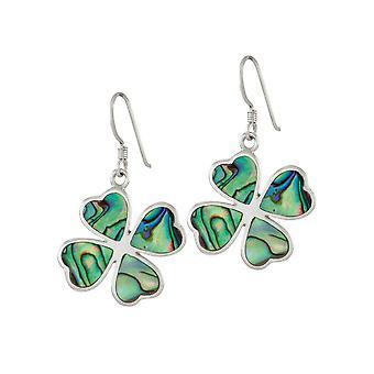 Eeuwige collectie Lucky Clover abalone sterling zilver drop doorstoken oorbellen