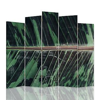 Dekorativa rumsavdelare, 5 paneler, dubbelsidig, canvas, löv struktur