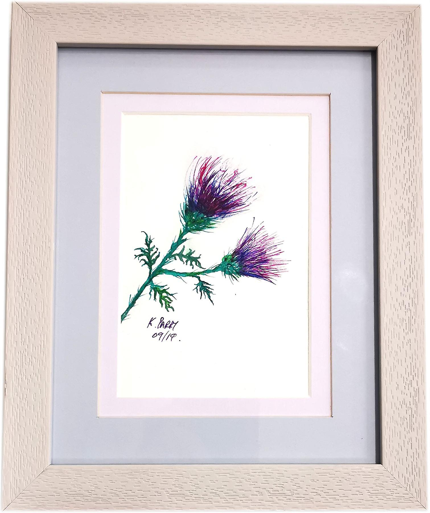 Keith Parry Artist Acrylic & Ink Thistle Painting Wood Frame