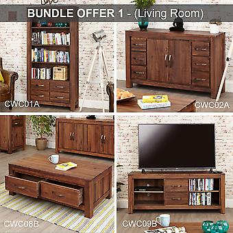 Mayan Walnut Living Room Bundle Includes Bookcase,Sideboard,Coffee Table &