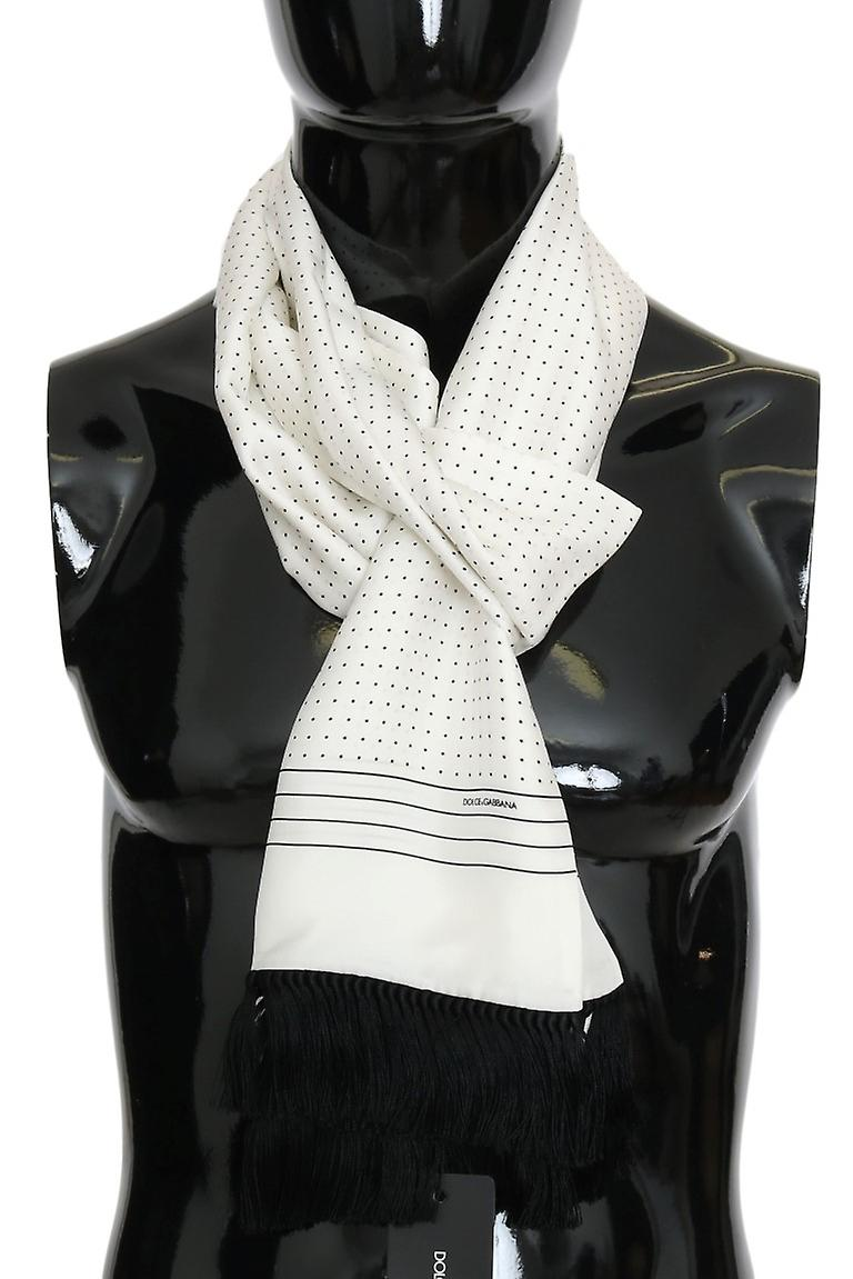 White Polka Dotted Silk Fringes Scarf